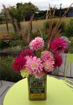 Dahlias with going to seed grass and parsley